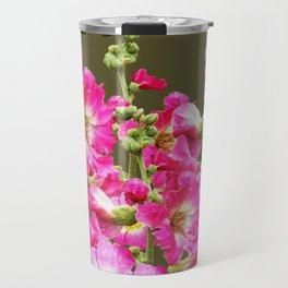 Pink Florals On Puce Color Art Travel Mug