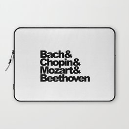 Bach and Chopin and Mozart and Beethoven, sticker, circle, white Laptop Sleeve