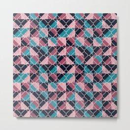 Arabesque Mosaic - pink and blue Metal Print