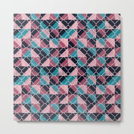 Arabesque Mosaic - pink and blue Metal Print