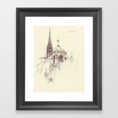Notre Dame Cathedral Sketch Framed Art Print