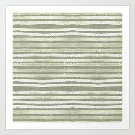 Simply Shibori Stripes Green Tea and Lunar Gray Art Print