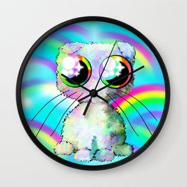 curly kawaii pet on rainbow and cloud background Wall Clock
