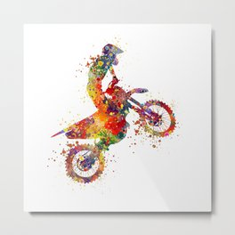 Boy Motocross Colorful Watercolor Motorcycle Art Metal Print