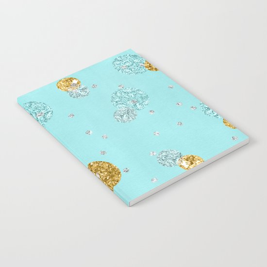 Treasures on aqua - Gold glitter polkadots on turquoise background Notebook