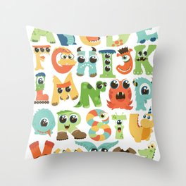 Cute monsters alphabet for boy's room monster alien critters illustrated characters Throw Pillow