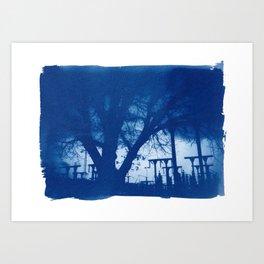 Trees at dusk – photographic Cyanotype art print Art Print