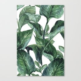 Watercolor Tropical Green Leaves Canvas Print