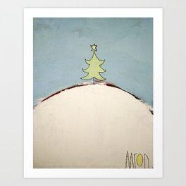 Christmas Tree on a Hill Art Print