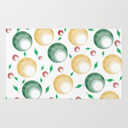 Christmas Balls and Holly Print Rug