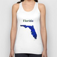 florida Tank Tops featuring Florida Map by Roger Wedegis