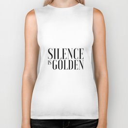 Silence is Golden Funny poster Just Sayin Gift for Parents Inspirational Print Typography Art Biker Tank