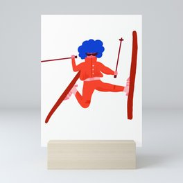 Red skiier Mini Art Print