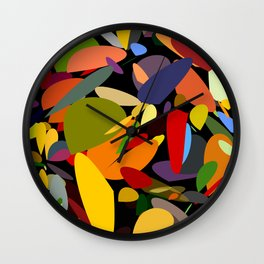 Colorful pebbles on black Wall Clock
