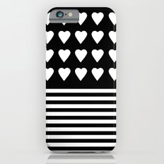 Heart Stripes White on Black iPhone 6 Slim Case