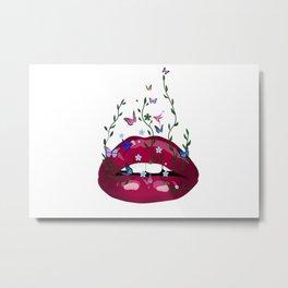 Lips,abstract art,flowers,butterflies,hummingbirds Metal Print