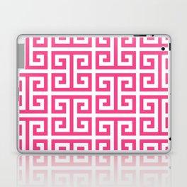 Large Pink and White Greek Key Pattern Laptop & iPad Skin