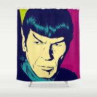 spock Shower Curtains featuring Spock Logic by Vee Ladwa