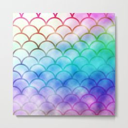 Rainbow Mermaid Pattern Print Metal Print