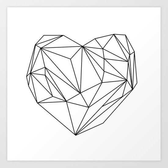 Heart Graphic (black on white) Art Print