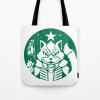 starfox Tote Bags featuring Starfox Coffee by Jimiyo