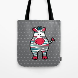 Doodle Zebra on Grey Triangle Background Tote Bag