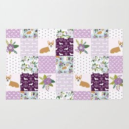 Corgi Patchwork Print - purple ,florals , floral, spring, girls feminine corgi dog Rug