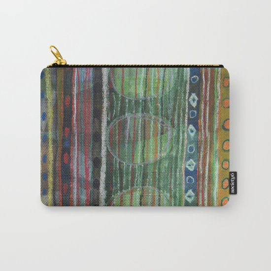 Dark Folcloristic Pattern With Vertical Stripes And Ovals  Carry-All Pouch