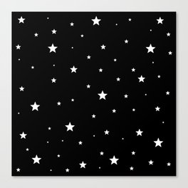 Scattered Stars - white on black Canvas Print