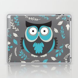 BLUE OWL AND LEAVES Laptop & iPad Skin