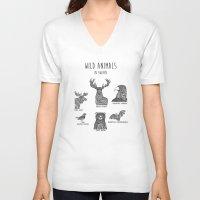 sweden V-neck T-shirts featuring Wild animals in Sweden by Mikaela Puranen