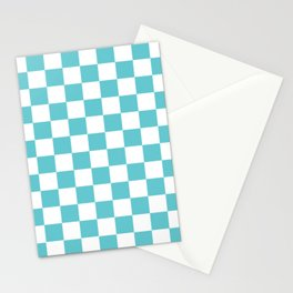 Checkered Pattern Moderate Cyan and White Stationery Cards