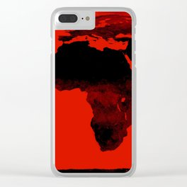 World Map Red & Black Clear iPhone Case