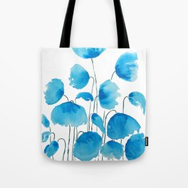 blue poppy field watercolor Tote Bag
