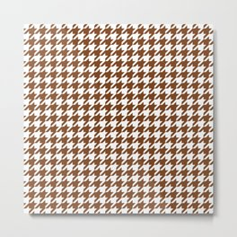 Chocolate Brown Houndstooth Pattern Metal Print