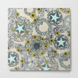 cirque fleur stone aqua star Metal Print