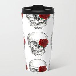 Rose Skull Metal Travel Mug