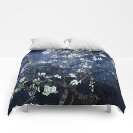 Vincent Van Gogh Almond Blossoms Dark Blue Comforters