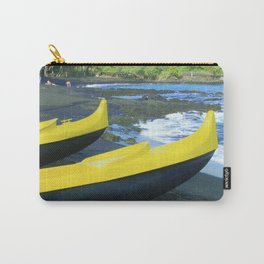 Outriggers on Hawaii's Big Island Black Sand Beach Carry-All Pouch