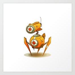Yellow robot Art Print