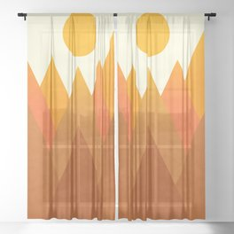 Modern Warming Abstract Geometric Mountains Landscape with Rising Sun in Hot Autumnal Ochre Colors  Sheer Curtain