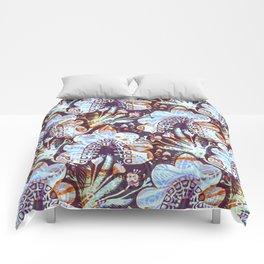 Arabesque Plant Jungle in Lavender, Orange and Purple Ethnic Pattern Illustration Comforters