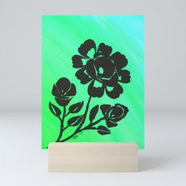 Green Silhouette Roses Varigated Background Acrylic Art Mini Art Print