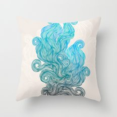 turquoise smoke Throw Pillow