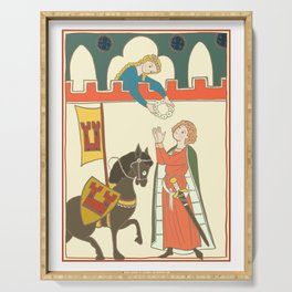 Medieval Courtly Love Scene Illustration Serving Tray