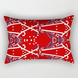 Tile #6 White-Blue Line Art on Red Rectangular Pillow