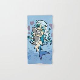 Cute Mermaid Loves Her Shark Plush Hand & Bath Towel