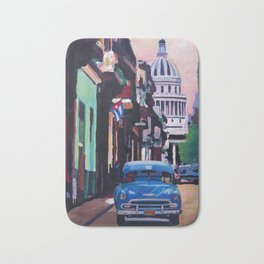 Cuban Oldtimer Street Scene in Havanna Cuba with Buena Vista Feeling Bath Mat