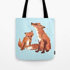 Blue Foxes, Cute fox art, nursery foxes, nursery decor, cool brother foxes, fox pillows Tote Bag