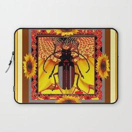 BEETLE & YELLOW SUNFLOWERS YELLOW DESIGN Laptop Sleeve